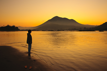 Sunset mountain and river, chiangkhan of thailand